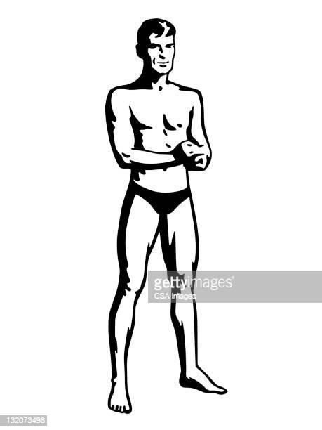 man wearing tiny swim trunks - swimwear stock illustrations, clip art, cartoons, & icons