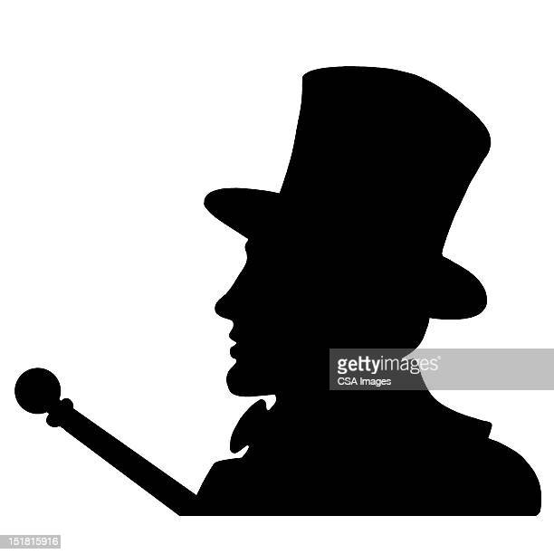 man wearing top hat - シルクハット点のイラスト素材/クリップアート素材/マンガ素材/アイコン素材