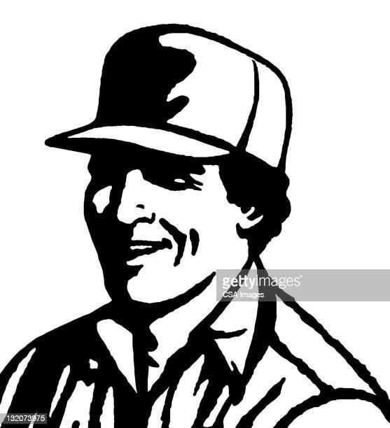 man wearing trucker hat - trucker's hat stock illustrations