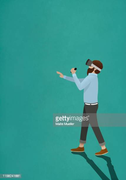 man wearing virtual reality simulator - unrecognisable person stock illustrations