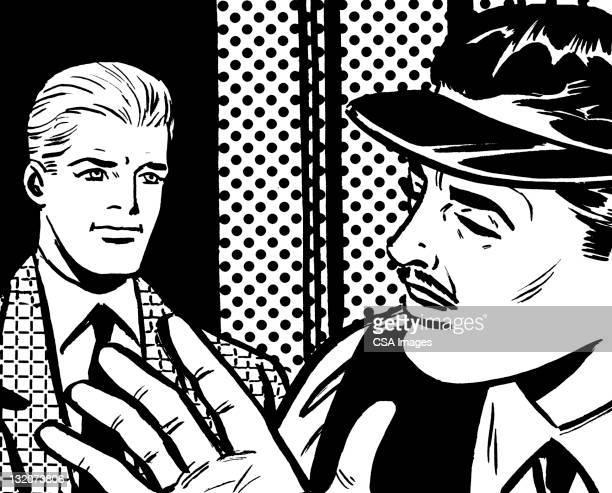 man wearing visor gesturing to another man - helmet visor stock illustrations, clip art, cartoons, & icons