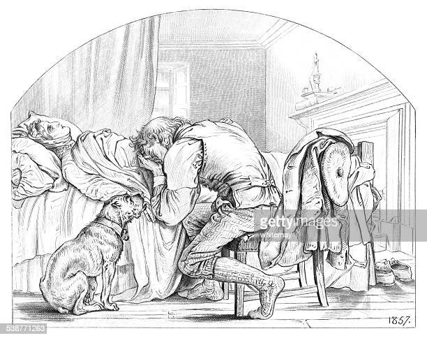 man weeping over his dead wife (engraving) - licking stock illustrations, clip art, cartoons, & icons