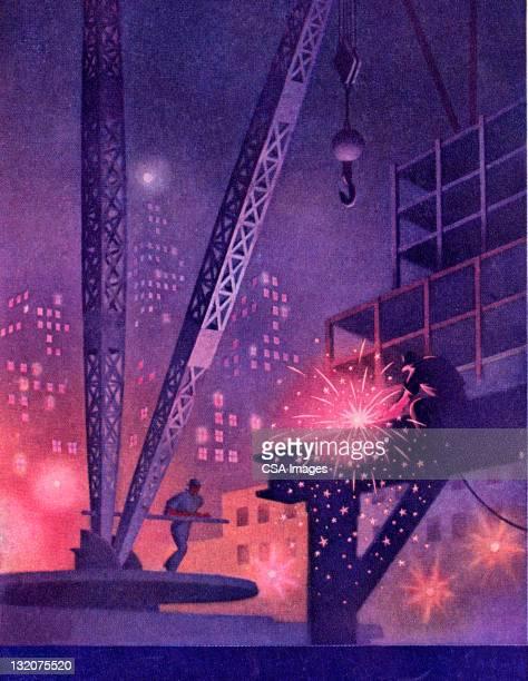 ilustraciones, imágenes clip art, dibujos animados e iconos de stock de hombre en el lugar de trabajo de soldadura - soldar