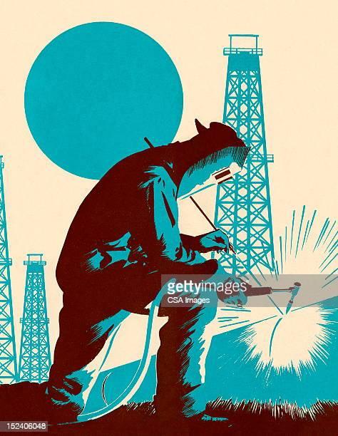 ilustraciones, imágenes clip art, dibujos animados e iconos de stock de hombre de soldadura - torre petrolera