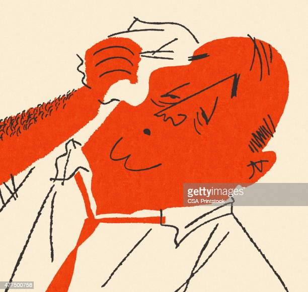 Man Wiping Head with Handkerchief