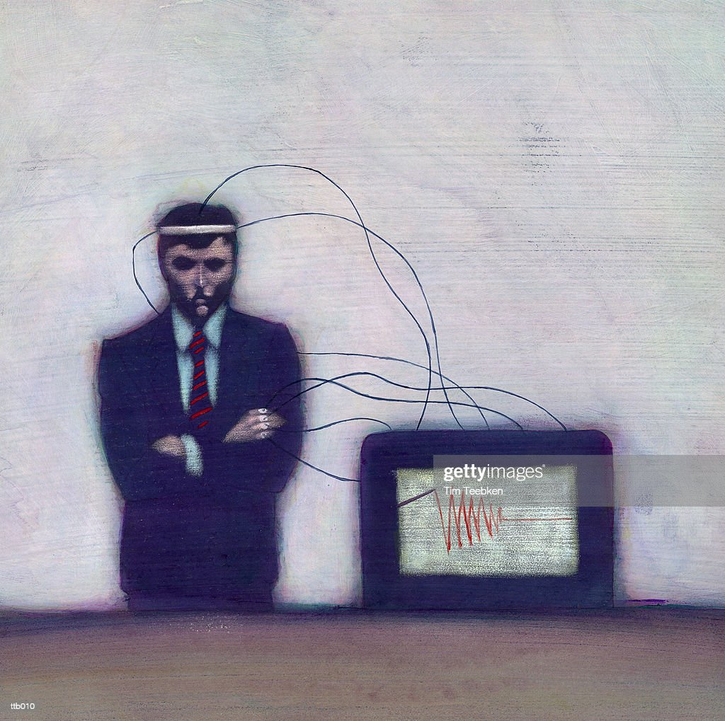 Man Wired to Computer : Stock Illustration