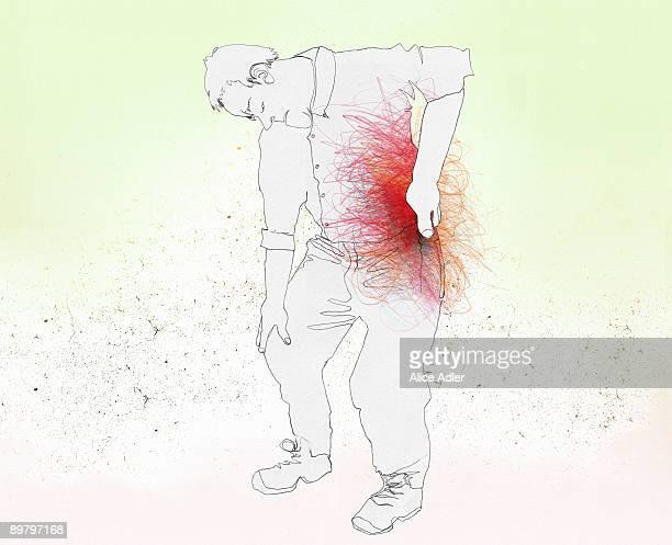 illustrations, cliparts, dessins animés et icônes de a man with a back pain - mal de dos