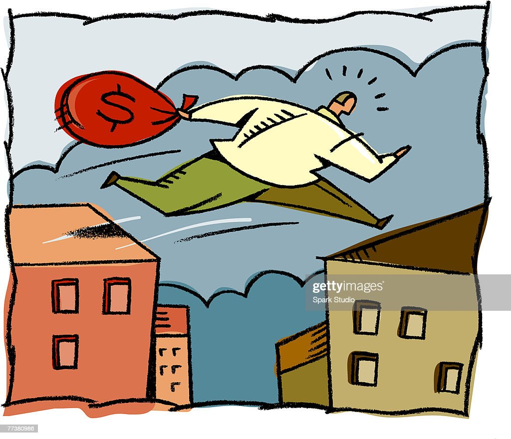 A man with a bag full of money jumping on roof tops : Stock Illustration