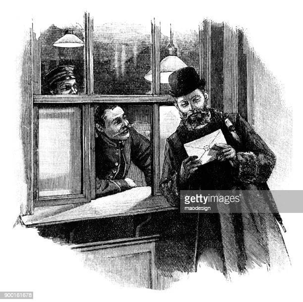 man with a beard holds a letter in his hands. two postal workers are looking at him - 1896 - post office stock illustrations, clip art, cartoons, & icons