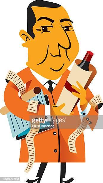 ilustrações de stock, clip art, desenhos animados e ícones de a man with a bottle of red wine and receipts and bills - buchinho