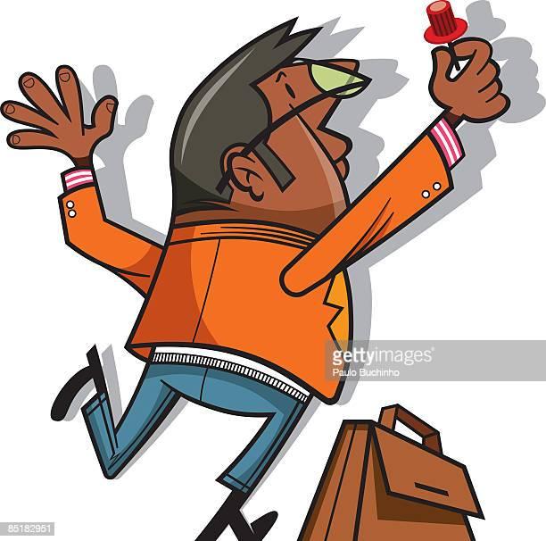 ilustrações de stock, clip art, desenhos animados e ícones de a man with a briefcase putting a pin on the wall - buchinho