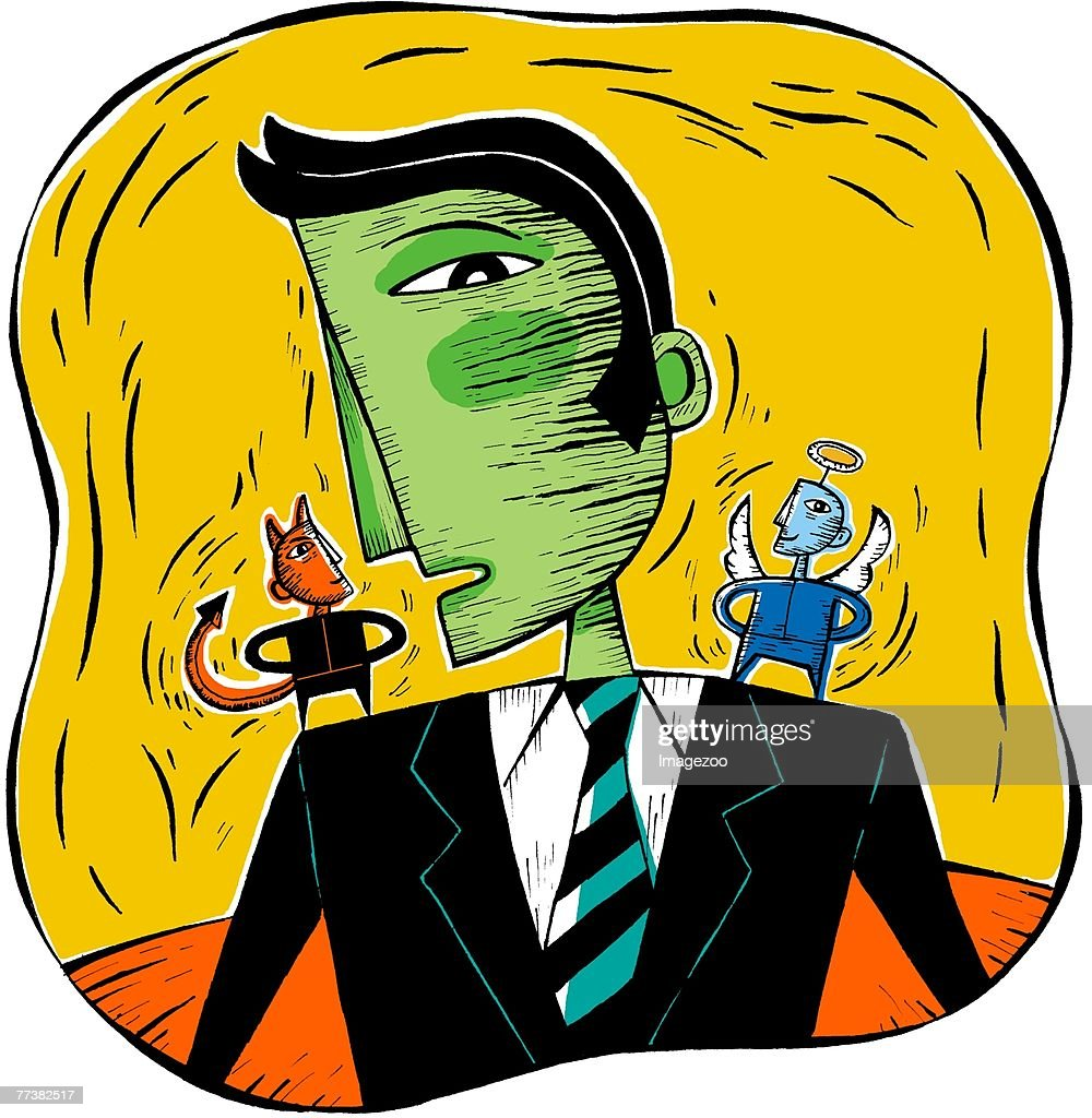 Man with a devil and an angel on his shoulders : stock illustration