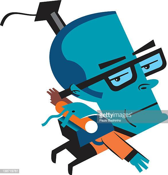ilustrações de stock, clip art, desenhos animados e ícones de a man with a graduation hat wearing a backpack - buchinho