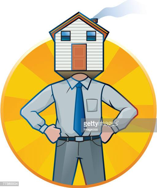 man with a house for a head - cash flow stock illustrations, clip art, cartoons, & icons