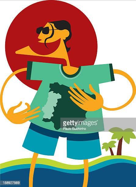 ilustrações de stock, clip art, desenhos animados e ícones de a man with a map on his shirt - buchinho
