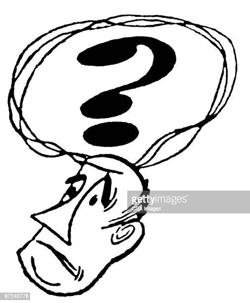 man with a question - thought bubble stock illustrations