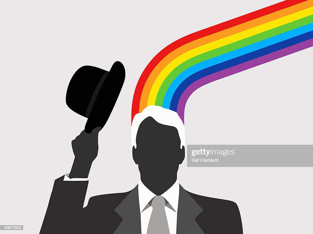 A man with a rainbow emerging from this head : stock illustration