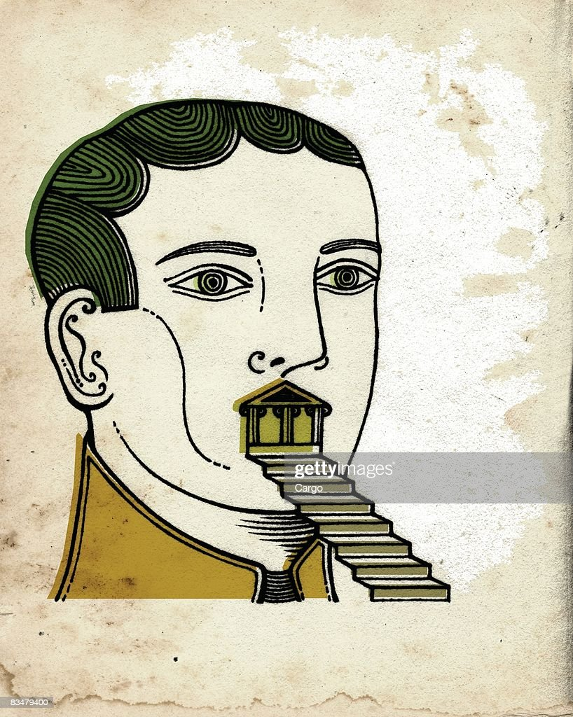 A man with a set of stairs coming out of his mouth : stock illustration