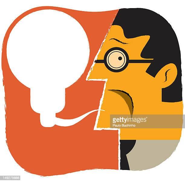 ilustrações de stock, clip art, desenhos animados e ícones de a man with a speech bubble shaped like a light bulb - buchinho