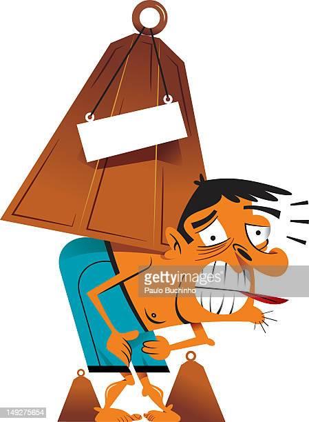 ilustrações de stock, clip art, desenhos animados e ícones de a man with a weight on his back - buchinho