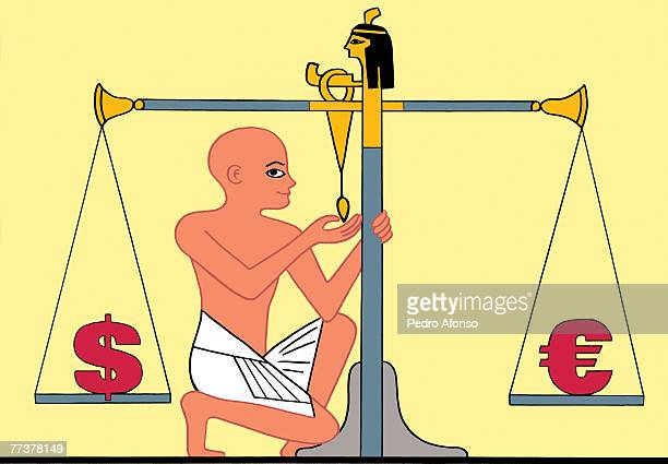 stockillustraties, clipart, cartoons en iconen met a man with an egyptian scales weighing the dollar against the euros - pedo