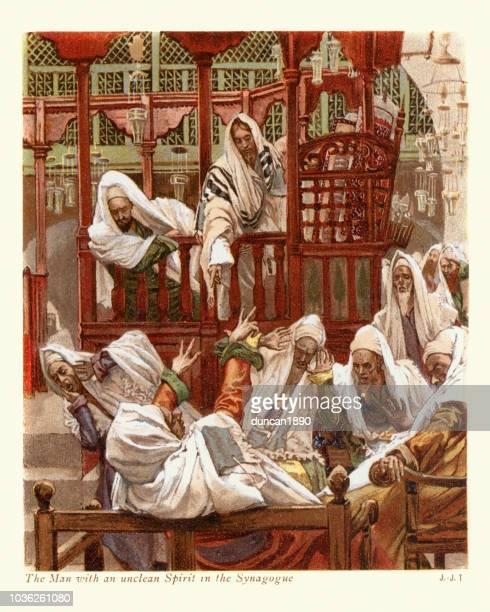 mann mit einem unreinen geist in der synagoge - james tissot stock-grafiken, -clipart, -cartoons und -symbole