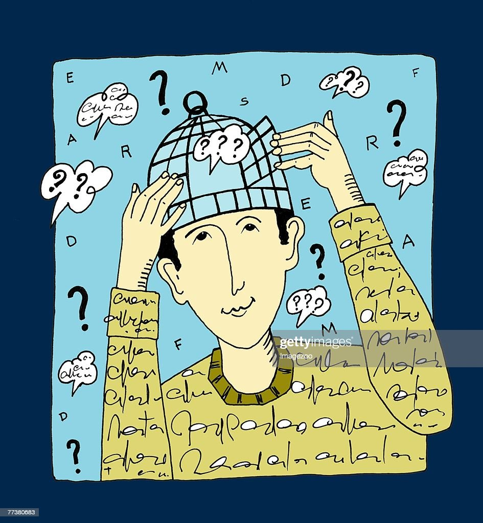 man with birdcage on his head : Illustration