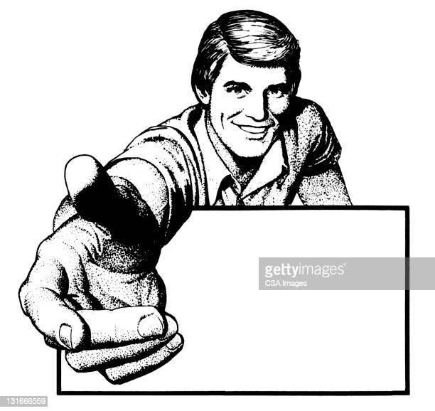 man with blank sign reaching - salesman stock illustrations