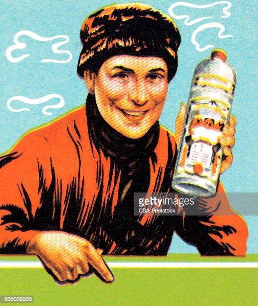 man with bottle - russian culture stock illustrations