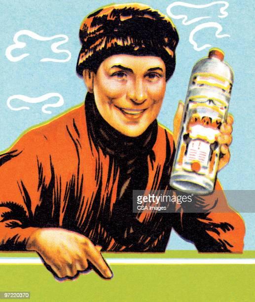 man with bottle - vodka stock illustrations, clip art, cartoons, & icons