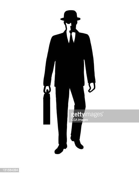 illustrations, cliparts, dessins animés et icônes de man with briefcase and hat - costume habillé