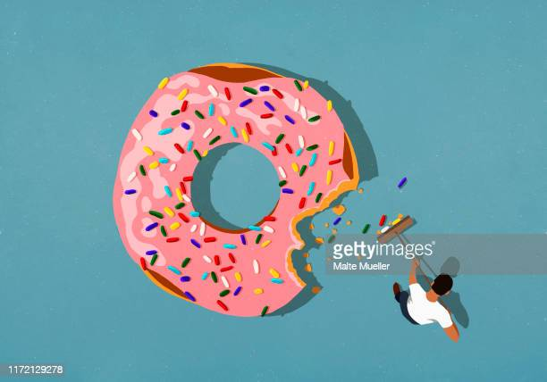 man with broom sweeping up donut sprinkles - food and drink stock illustrations