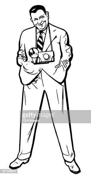 man with camera - camera operator stock illustrations, clip art, cartoons, & icons