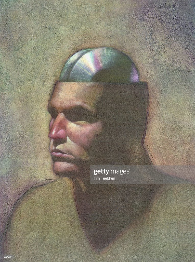Man with CD Drive for Brain : Stockillustraties