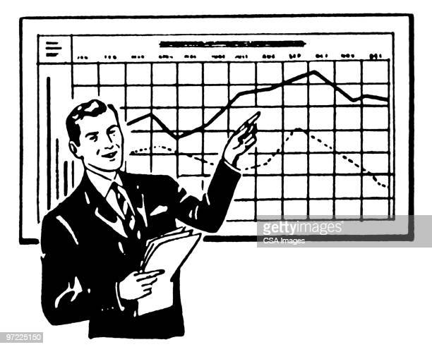 man with chart - graph stock illustrations