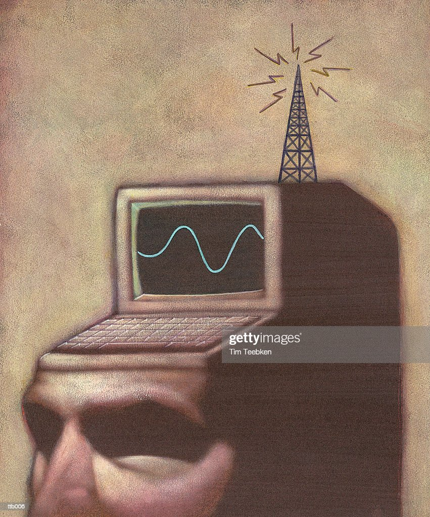 Man with Computer Head : Stock Illustration