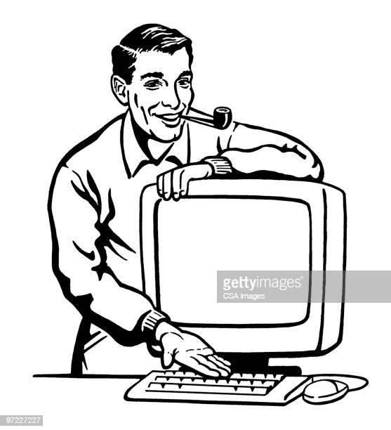man with computer - salesman stock illustrations