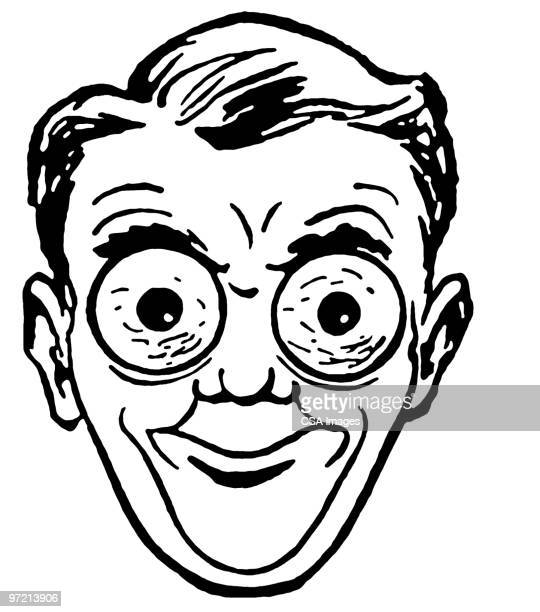 man with crazy eyes - staring stock illustrations