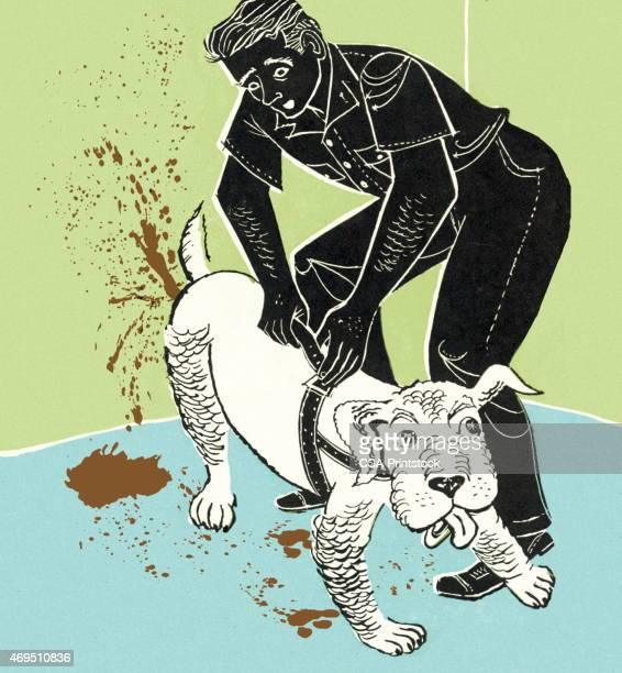 man with dog - feces stock illustrations, clip art, cartoons, & icons