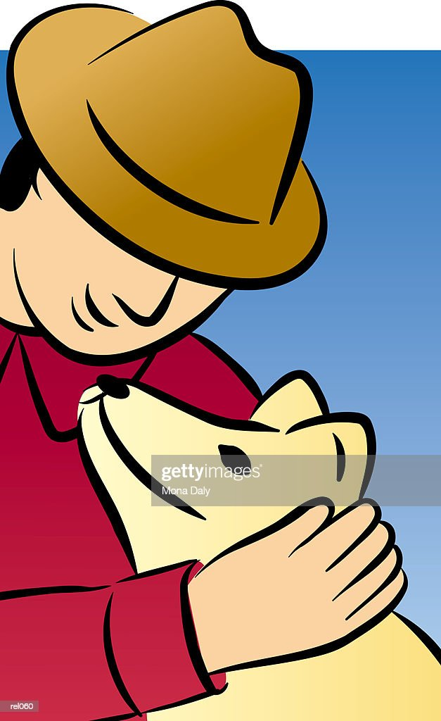 Man with Dog : Stockillustraties