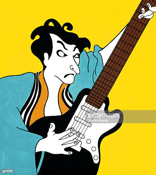 man with electric guitar - only japanese stock illustrations, clip art, cartoons, & icons