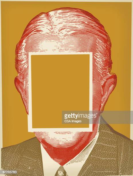 man with face blocked out - obscured face stock illustrations, clip art, cartoons, & icons