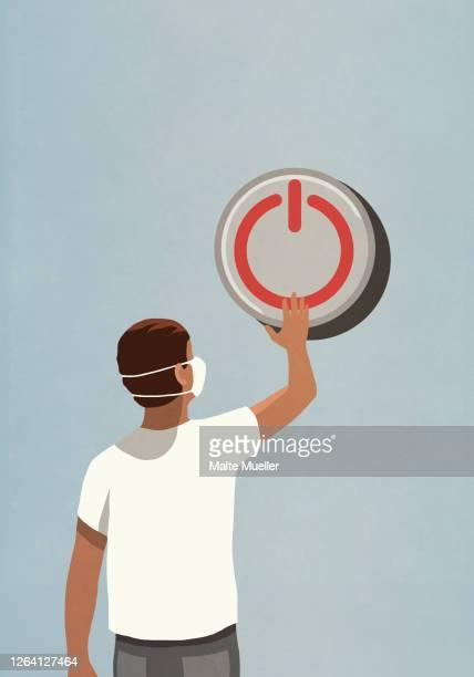 illustrations, cliparts, dessins animés et icônes de man with face mask pushing large power off button - confinement clip art