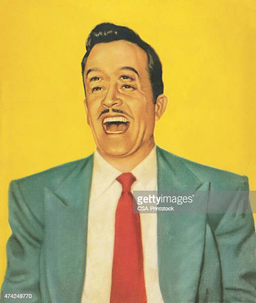 man with four eyes laughing - only men stock illustrations