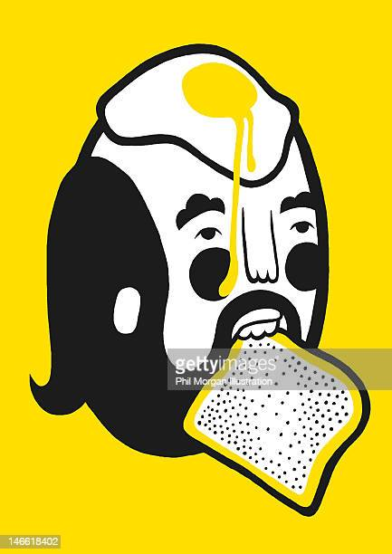 Man with fried egg and toast