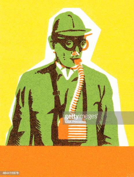 man with gas mask - air respirator mask stock illustrations