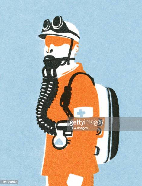 man with gas mask - air pollution stock illustrations