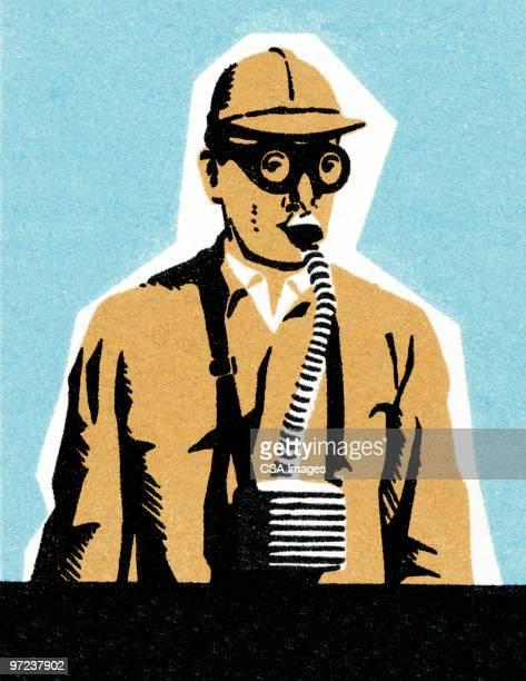 ilustraciones, imágenes clip art, dibujos animados e iconos de stock de man with gas mask - arma biológica