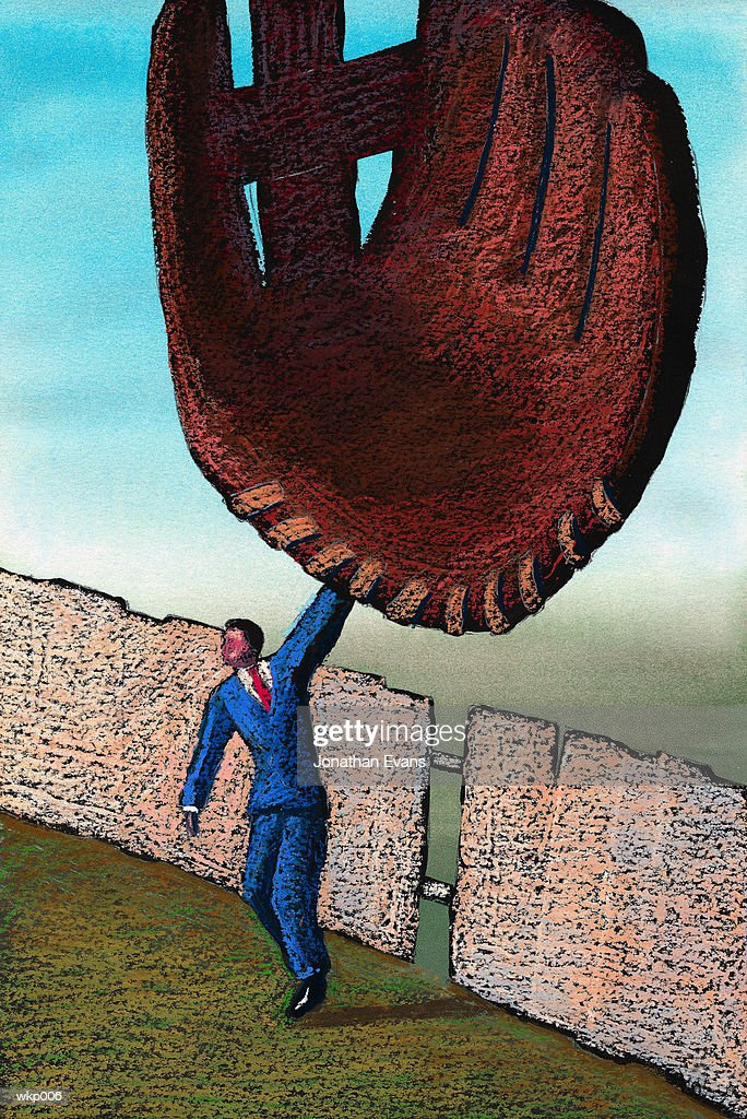 Man with Giant Baseball Mitt : Stock Illustration