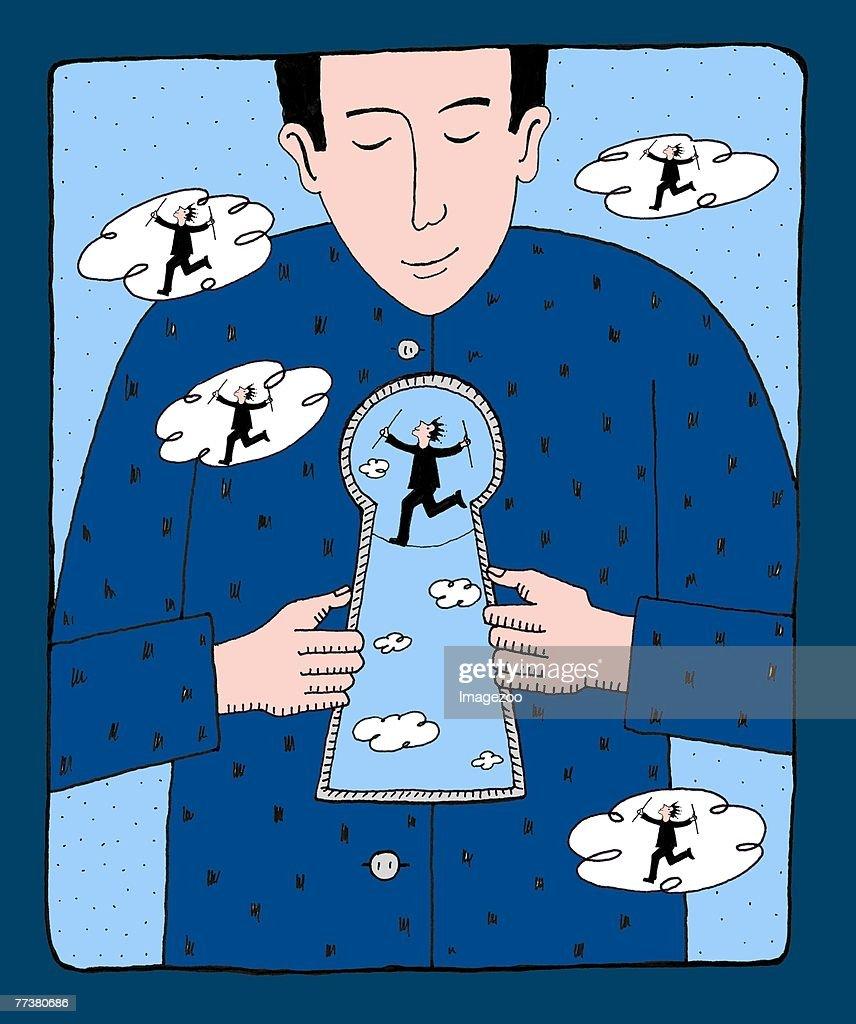 man with giant keyhole : Illustration